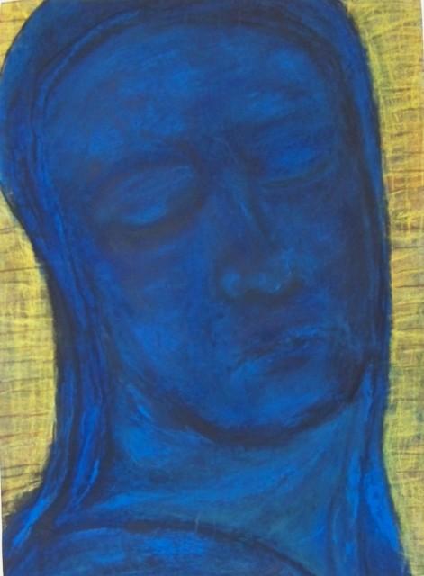 Hommage a. Redon: Blauer Kopf auf gelben Grund