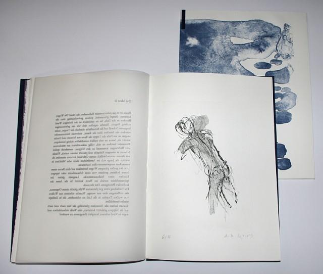 Anita Voigt: Vom Meer, handgebunden, Algrafie Handabzug 5 Originale