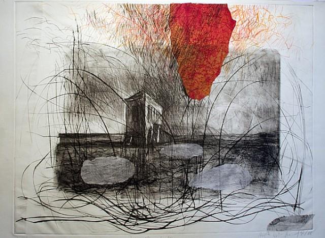 Die rote Wolke / Litho, Kaltnadel, Kreide, Collage