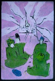 Das feuer auf dem Berggipfel / Illustration 7 zum äthiopischen Märchen., Anita Voigt
