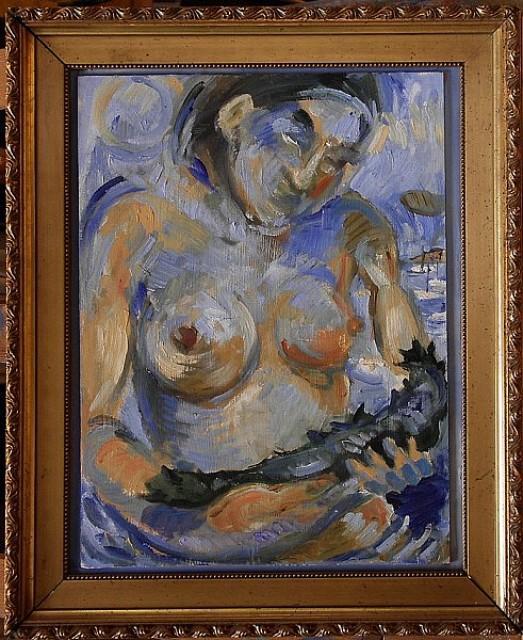 Frau mit Seegurke