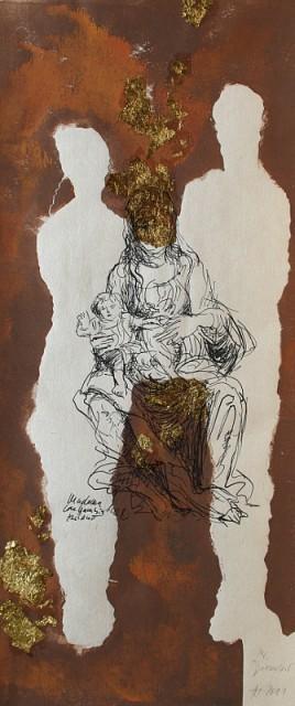 24. Dezember (Namenstag von Adam und Eva), Linol und Blattgold über Siebdruck