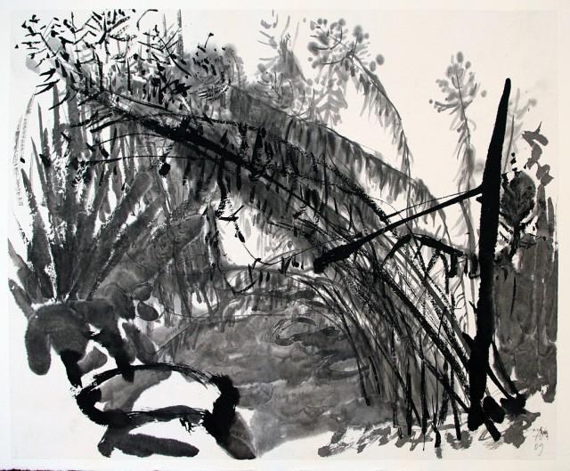 Herbstgarten / Tusche auf Japanpapier und Bütten