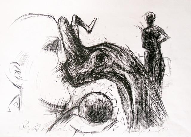 Im Garten der Bildhauerin V / Litho und Zeichnung