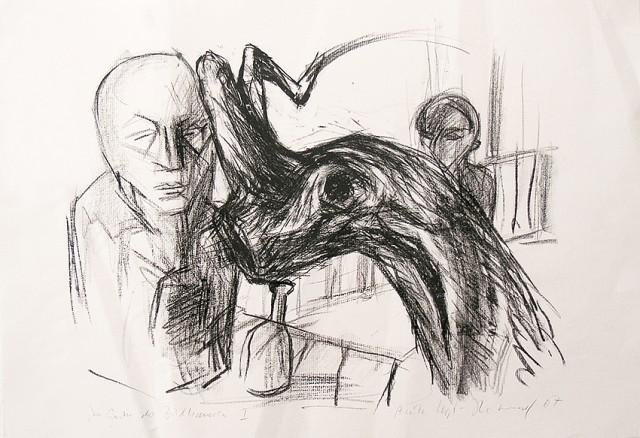 Im Garten der Bildhauerin I / Litho und Zeichnung