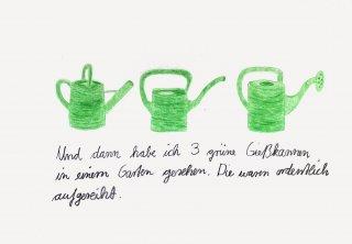 Drei grüne Gießkannen, Friedrich Fröhlich